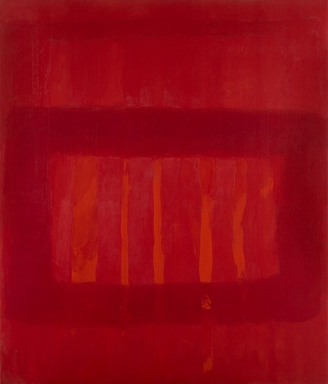 Perle Fine ,   Cool Series #48, Striated Red  ,  c. 1961-63     Oil on canvas ,  70 x 60 in. (177.8 x 152.4 cm)     © AE Artworks     FIN-00043