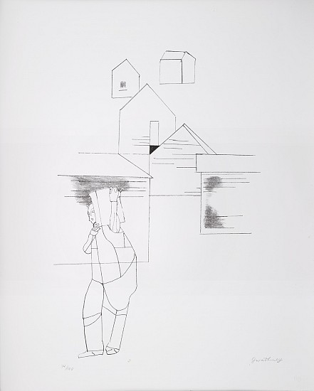 Robert Gwathmey ,   Portrait with Box      Lithograph on paper ,  22 x 27 in. (55.9 x 68.6 cm)     GWA-00001