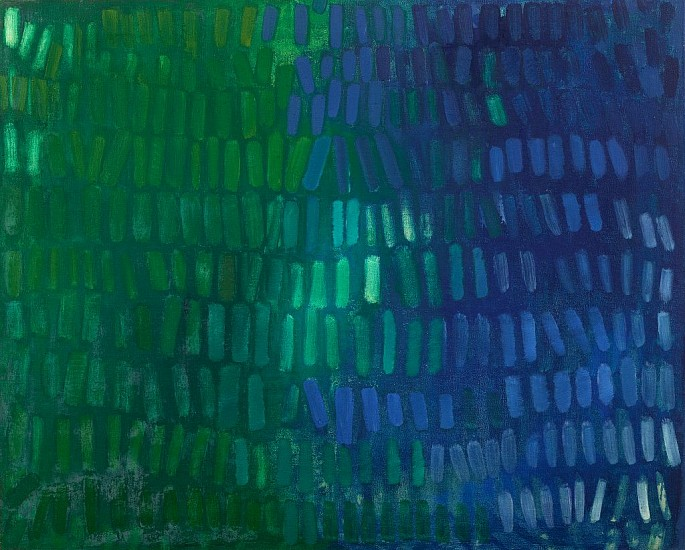Yvonne Thomas ,   Blue Green No. II | SOLD  ,  1963     Oil on canvas ,  40 x 50 in. (101.6 x 127 cm)     THO-00100
