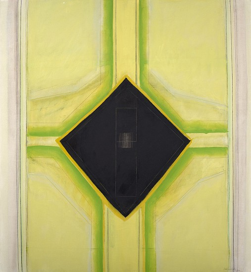 Ida Kohlmeyer ,   Black Insert  ,  1968     Mixed media on canvas ,  46 1/2 x 43 in. (118.1 x 109.2 cm)     KOH-00011