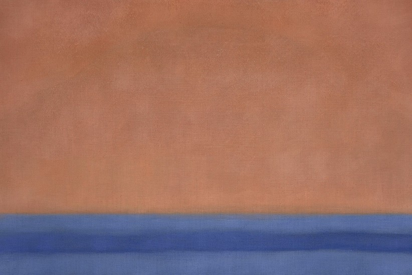 Susan Vecsey ,   Untitled (Atomic Orange/Blue) | SOLD  ,  2020     Oil on linen ,  42 x 62 in. (106.7 x 157.5 cm)     VEC-00213